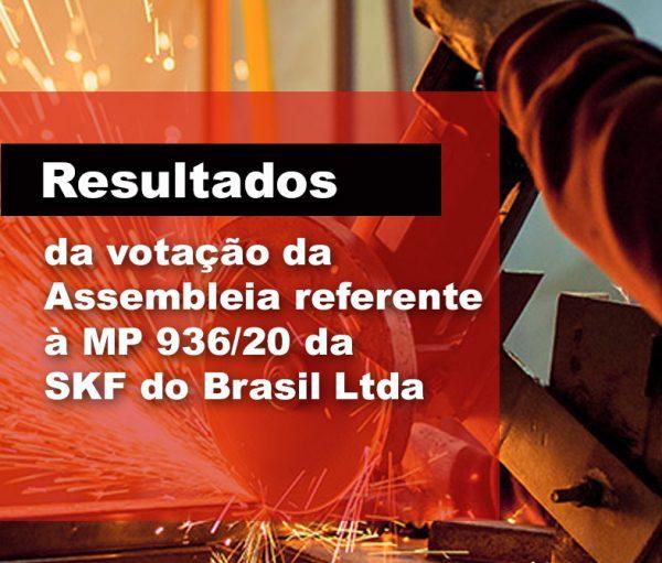 Resultado da votação da Assembleia referente à MP 936/20 da SKF do Brasil ltda